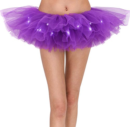 Women's Classic 5 Layered LED Light Up Tutu Skirt Clubwear, Purple -