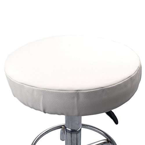 Soft Stool Cover Bar Stool Cover Cushion Chair Slipcover for Home Cafe Bookstore Restaurant Library Office White 42cm/16.53inch ()