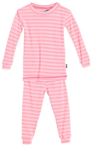 City Threads Boys and Girls Pajama Set Thermal PJ Poly Cotton Long John Fottie Long Sleeve Made in USA, Pink Stripe, (Super Stripe Waffle)
