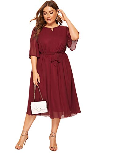 ROMWE Women's Plus Size Mesh Elegant Half Ruffle Sleeve Belted Cocktail Party Swing Midi Dress Burgundy 1XL
