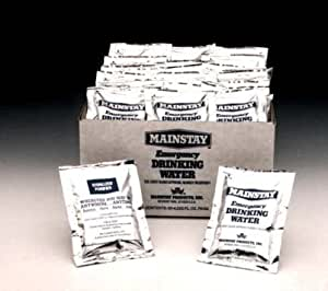 Mainstay Water Packets. Case of 60. 4.224 Ounces (125 ml)