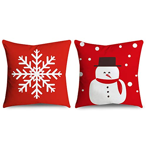 (Pillow Cover, Winter Snowflake & Snowman Throw Pillow Case Set, 2 Pack for Home Couch Party Outdoor Decoration 18
