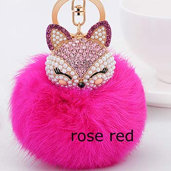 Amazon.com: Rarido Cute Crystal Fluffy Keychain Fox Pompom ...