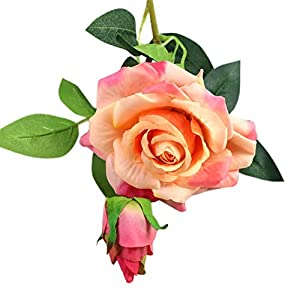 Adarl 1pc Artificial Rose Flower Fake Silk PU Feel Moisturizing Rose Flower Bouquet for Home Office Decor Party Festival Wedding Decoration Champagne 12