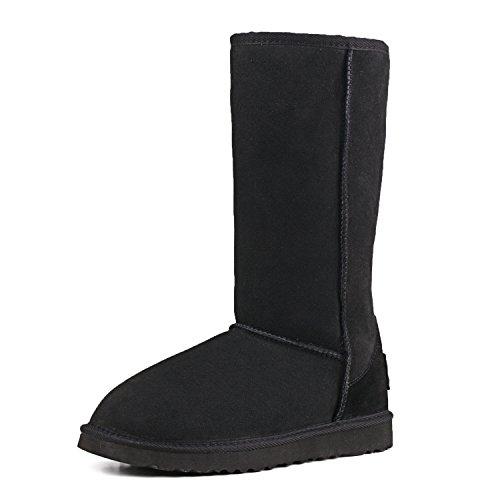 Ausland Women's Classic Sheepskin Tall Snow Boots V5815 Black 5.5US 36 (Classic Tall Wool Boot)
