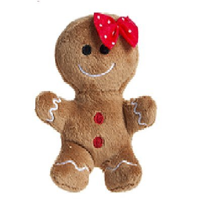 10cm Plush Gingerbread Man Soft Toy with Red Bow - Christmas Soft Toys - Christmas Decorations ()