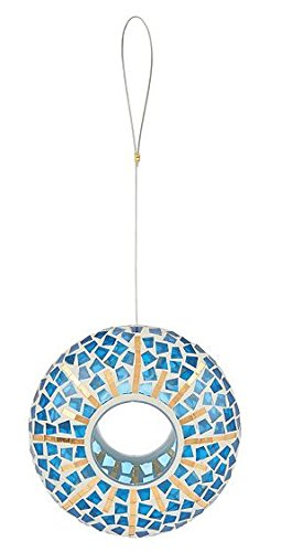 Evergreen Sun Garden Burst Mosaic Glass Hanging Circle Bird Feeder (Feeder Bird Circular)