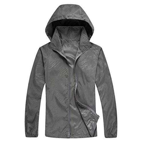 Jacket for Men Women Casual Windproof Hooded Jackets Ultra-Light Rainproof UV Protection YQZB Zipper Windbreaker Tops Gray E-bomb Ultimate 4/3 Wetsuit