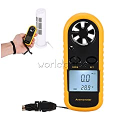 Shalleen Digital LCD Anemometer Wind Speed Meter Tester Temperature Gauge Thermometer New