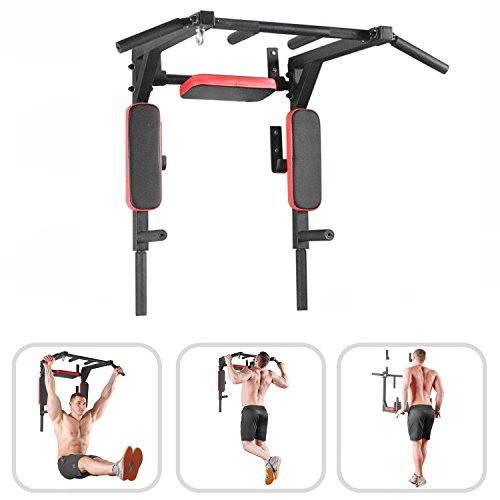 Wall Mounted Pull Up Bar – Pullup Bar Wall Mount – Chin Up Bar – Pull Up Bars and Dip Bar – Pullup and Dip Bar – Dip Station Pull Bar – Pullup Bars Outdoor and Home Room or Garage Gym Multi Grip – Pul
