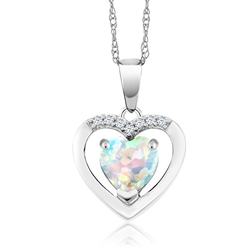 10K White Gold 0.80 Ct White Simulated Opal and Diamond Heart Pendant