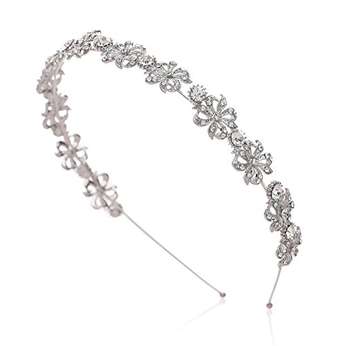 SWEETV Silver Rhinestone Headband Tiara Bridal Hair Accessories Flower Halo Head Pieces for Women