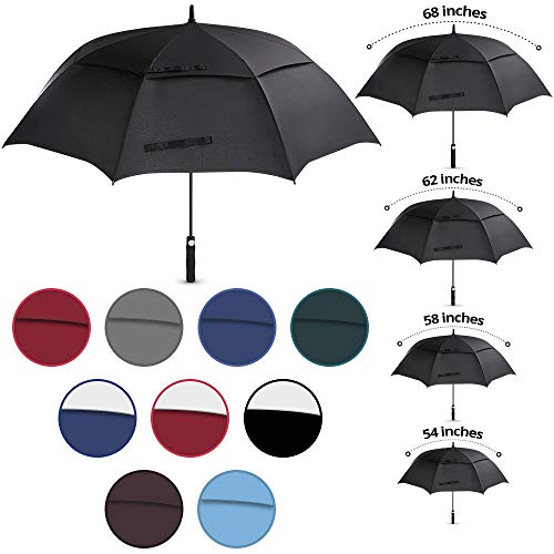 "Viteps Large Golf Umbrella   Big Golfing Umbrella for Wind and Rain   Double Canopy Wind and Waterproof Design   Durable Fiberglass Design   Strongest Umbrella (Black, 1 Pack, 62"")"