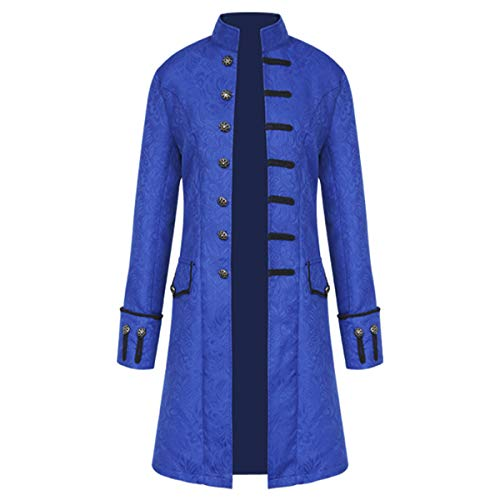 (iCos Unisex Medieval Steampunk Coat Men Stand Collar Jacket Formal Halloween Costume Uniform (Small, Jacquard)