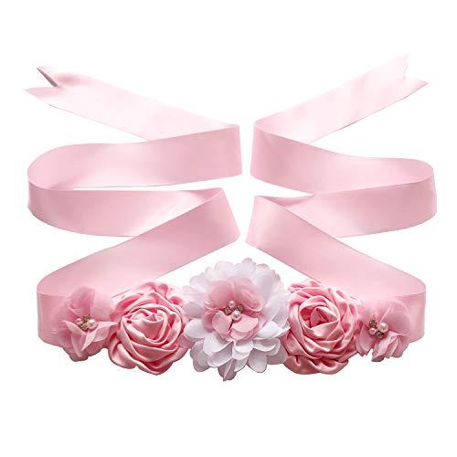 Maternity Sash Belt with Flower, Floral Baby Shower Belly Sash, Flower Girl Sash, Pregnancy Sash Belt for Photography (B-pink) ()