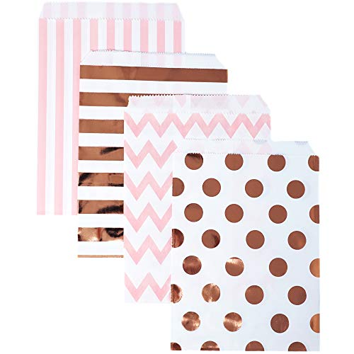 (Food Safe Biodegradable Paper Candy Favor & Treat Bags for All Parties - 48 Count Assorted, 7x5 Size - by Chloe Elizabeth (Pink, Rose Gold Foil))