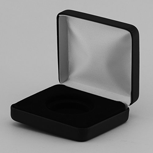 "(1) Black Leatherette Model ""H"" Air-Tite Single Coin Holder Display Box Case for 30mm American Half Dollar Ring Type Coin Capsule"