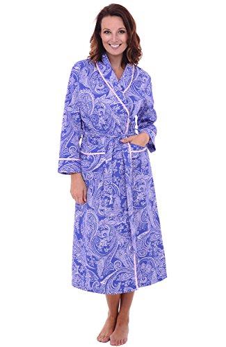 Alexander Del Rossa Women's Lightweight Cotton Kimono Robe, Summer Bathrobe, Large Blue and White Paisley (A0515P05LG)]()