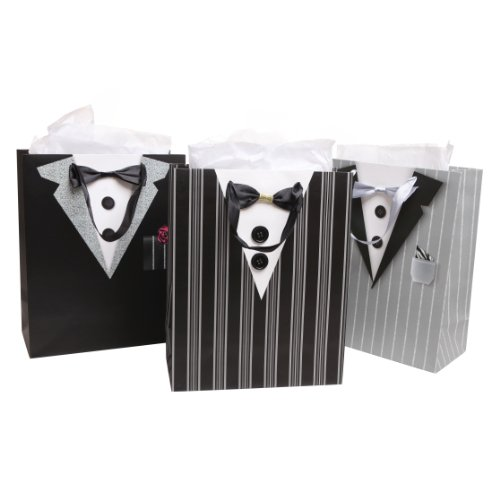 Dapper Wedding Groomsmen/Father's Birthday/Anniversary/Tuxedo Gift Bags and Tissues - (Set of 3)