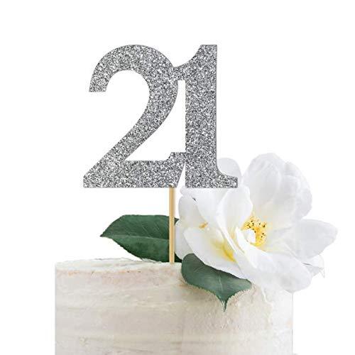 Twenty One  21st swirl base Birthday Card Cake Topper Plain or Glitter