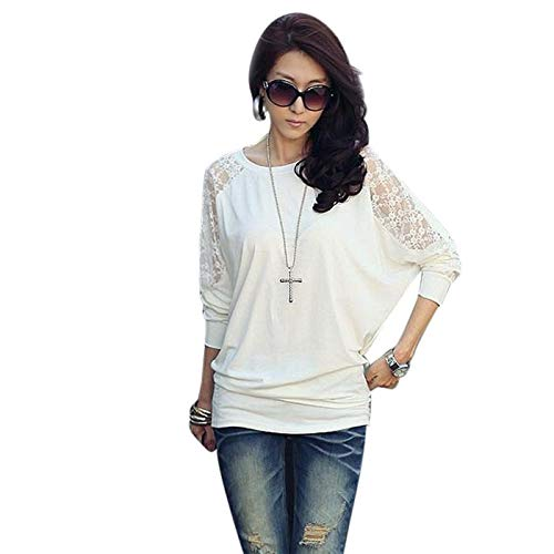 Women Long Sleeve Casual Dolman Lace Loose T-Shirt Batwing Tops WH/L White