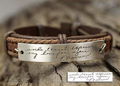 43679ea514241 Memorial Signature Bracelet Personalized, Actual Handwriting, Jewelry for  Mom, Leather Cuff Keepsake, Mothers Day Gift