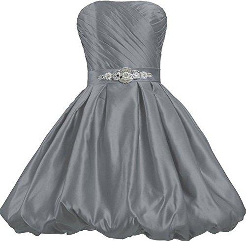 Formal Strapless Party Bubble Prom Satin Women's Short Dresses Drasawee Grey Bridesmaid Ewq7Og8wx