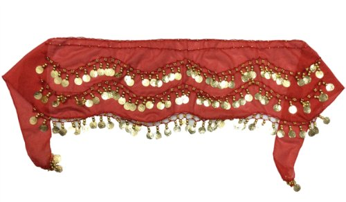 Tzou Red Belly Dance Skirt Hip Scarf