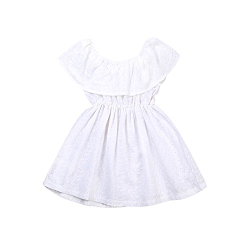 Toddler Kids Baby Girl Ruffle Off Shoulder Summer Lace Mini Dress White (2-3 Years, White) -