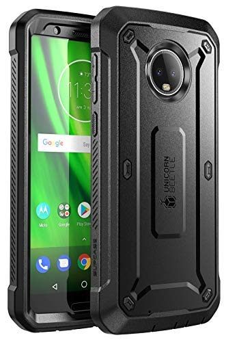 Moto G6 Case, SUPCASE Full-Body Case with Built-in Screen Protector Rugged Holster for Moto G6 5.7 Inch (2018 Release), Unicorn Beetle Pro Series -Retail Package (Black)