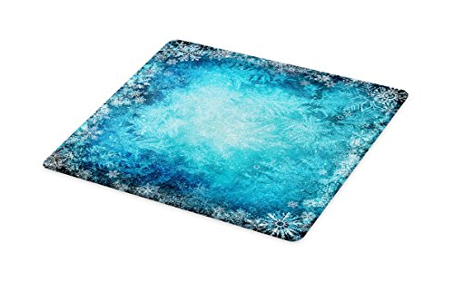 Lunarable Winter Cutting Board, Various Types of Snowflake in Soft Colors Theme Seasonal Blue Background, Decorative Tempered Glass Cutting and Serving Board, Large Size, Turquoise (Best Type Of Cutting Board)