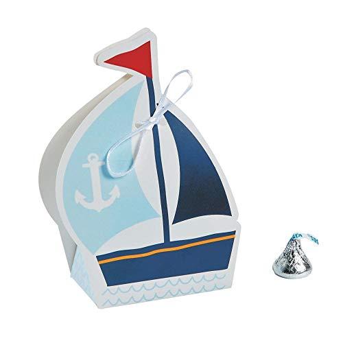 Fun Express Nautical Sailor Sailboat Party Favor Boxes - 12 ct -