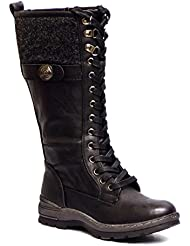 Patrizia by Spring Step Kyol Womens Black Warm Lined Side Zip Combat Mid Calf Boots