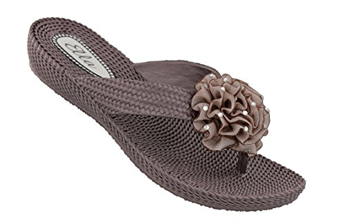 Ella Womens Danni Low Wedge Toe Post Flip Flop Sandals in a Choice of Colours Brown