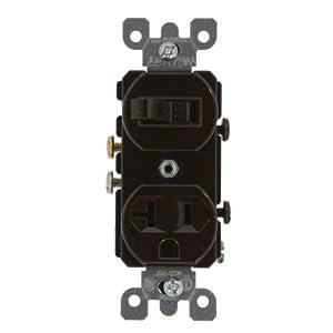 Leviton 5335 20 Amp, 120 Volt, Duplex Style Combination Single Pole Switch/Receptacle, Grounding, Brown