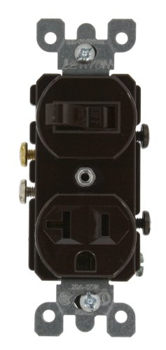 Leviton 5335 20 Amp, 120 Volt, Duplex Style Combination Single Pole Switch/Receptacle, Grounding, Brown
