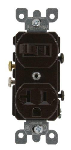 - Leviton 5335 20 Amp, 120 Volt, Duplex Style Combination Single Pole Switch/Receptacle, Grounding, Brown