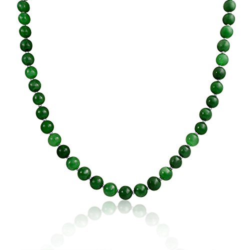 Simple 7MM Ball Bead Strand Natural Dyed Jade Pendant Long Necklace For Women 925 Sterling Silver 20 Inch