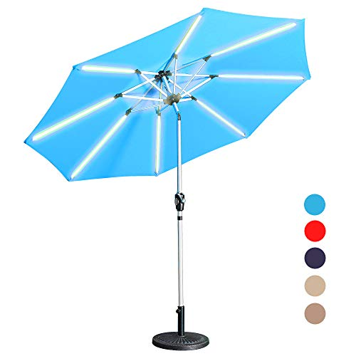 Aok Garden LED Outdoor Umbrella,9 Feet Solar Powered LED Lighted Patio Umbrella with Push Button Tilt and Crank Outdoor Market Umbrella Garden Poolside Sunshade- Solar LED,Light Blue