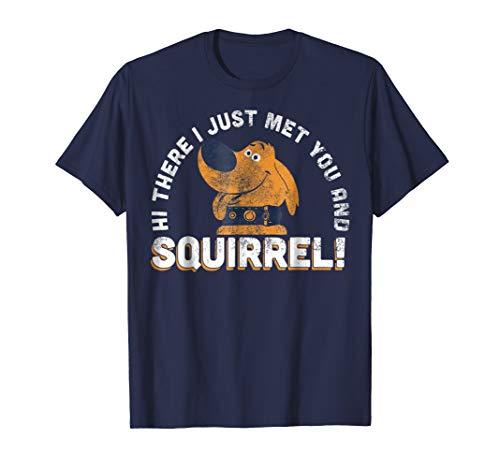 Disney Pixar UP Dug Just Met and SQUIRREL! Graphic T-Shirt