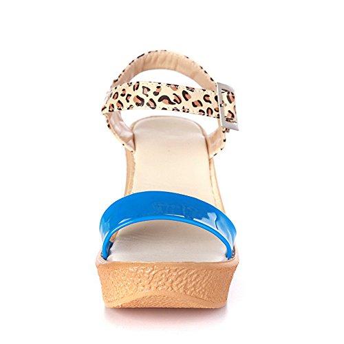 Open PU PU Absatzfarben Pumps Toe VogueZone009 aus in Blau mit und verschiedenen Womens Sandalen 6xq55TFS