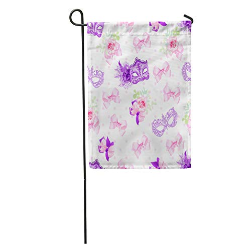 (Semtomn Garden Flag Purple Violet Carnival Masks Small Floral Bouquets Pink Bows Pattern Home Yard House Decor Barnner Outdoor Stand 12x18 Inches Flag)