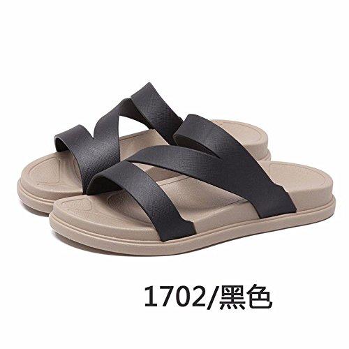 LIUXINDA-XZ Nuevos Productos de Moda española La Moda Zapatillas, Zapatos, Espesor de Dama Playa Abajo, rutschfeste, Sommer, Sacar la versión Coreana, Nuevo Outdoor Zapatillas. Negro.