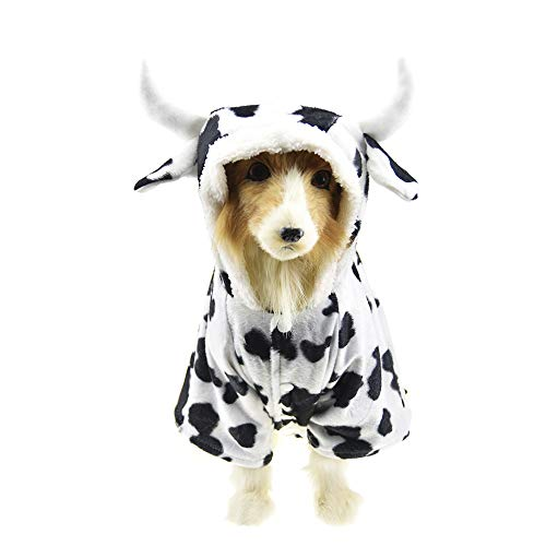 FLAdorepet Halloween Pet Cow Costume for Large Dog Winter Fleece Dog Jacket Coat Funny Clothes for Labrador (5XL, White) -