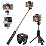 Wireless Selfie Stick Tripod with Remote, SAWAKE 360 ° Rotation Monopod with Detachable Remote Control Shutter for iPhone X/8/7/6/5 Series, Samsung Galaxy S7 S8 Plus Edge and More Smartphones