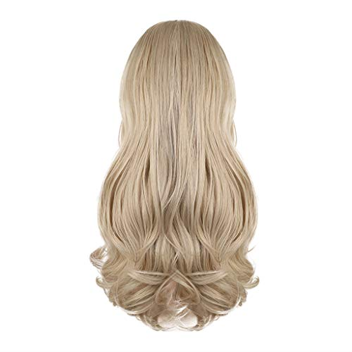 Iusun Wigs,24'' Light Yellow Women's Long Curly Wavy Resistant Synthetic Extensions Cosplay Costume Daily Party Anime Hair Full Wig High Temperature Fiber (A)