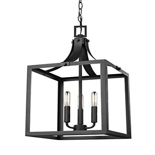 (Sea Gull Lighting 5240603-12  Labette Medium Three-Light Hall / Foyer Hanging Modern Light Fixture, Black Finish)