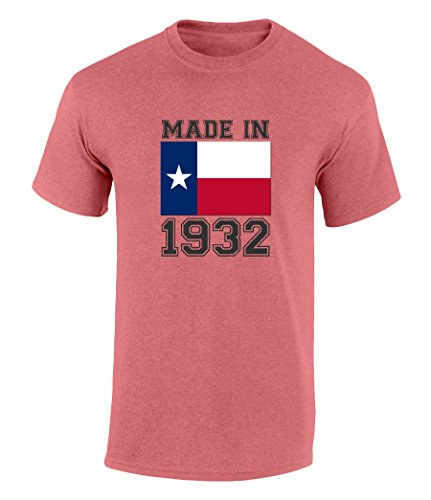 Happy 85th Birthday Gift T-Shirt With Made In Texas 1932 Graphic Print Heather Red - Shops Village Highland At