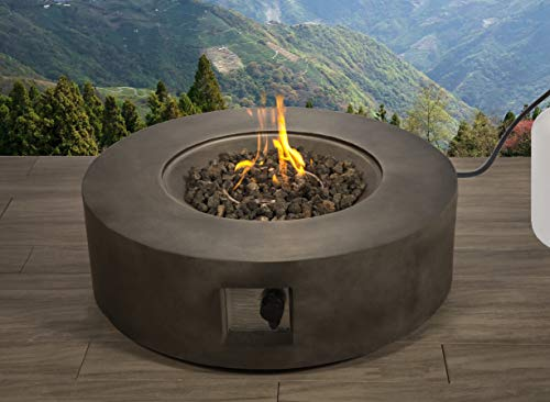 Century Modern Outdoor Fire Pit for Outdoor Home Garden Backyard Fireplace by (Round Shape - Black Color)