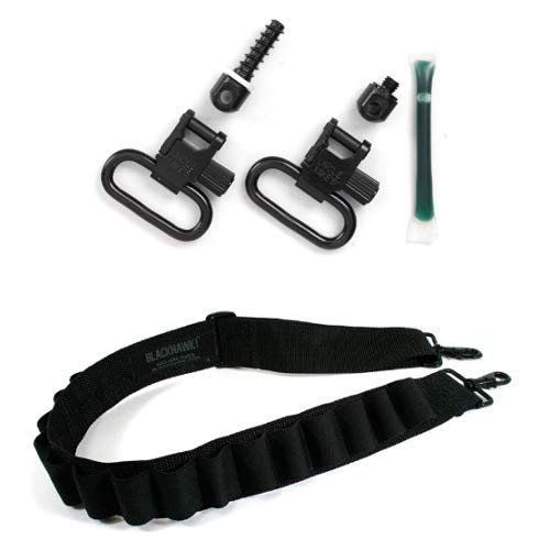 Uncle Mike's Quick Detachable Fore End Band Style Sling Swivels (Blued, 1-Inch Loop) and Blackhawk Black Shotgun Sling by Uncle Mike's